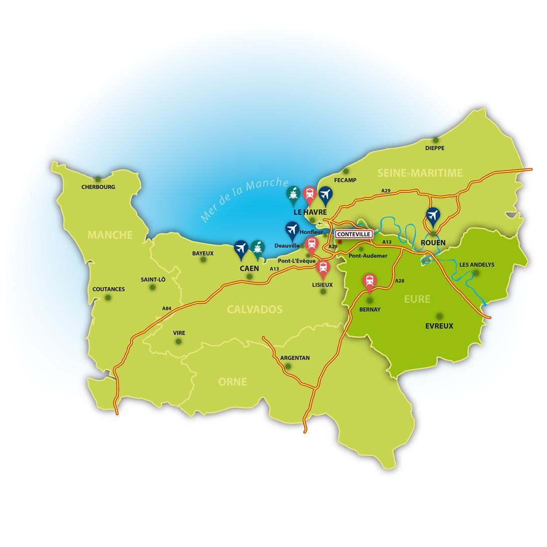 Conteville (Eure) carte de situation
