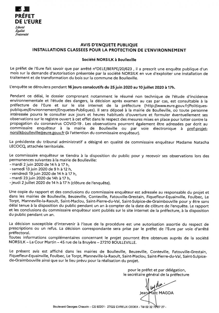 """Enquête publique """"Société Norsilk à Boulleville"""""""