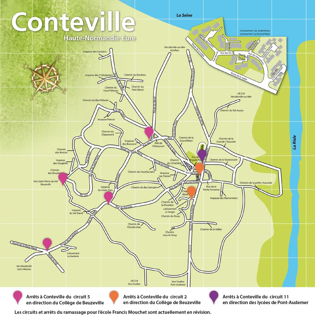 Conteville (Eure) Plan du ramassage scolaire