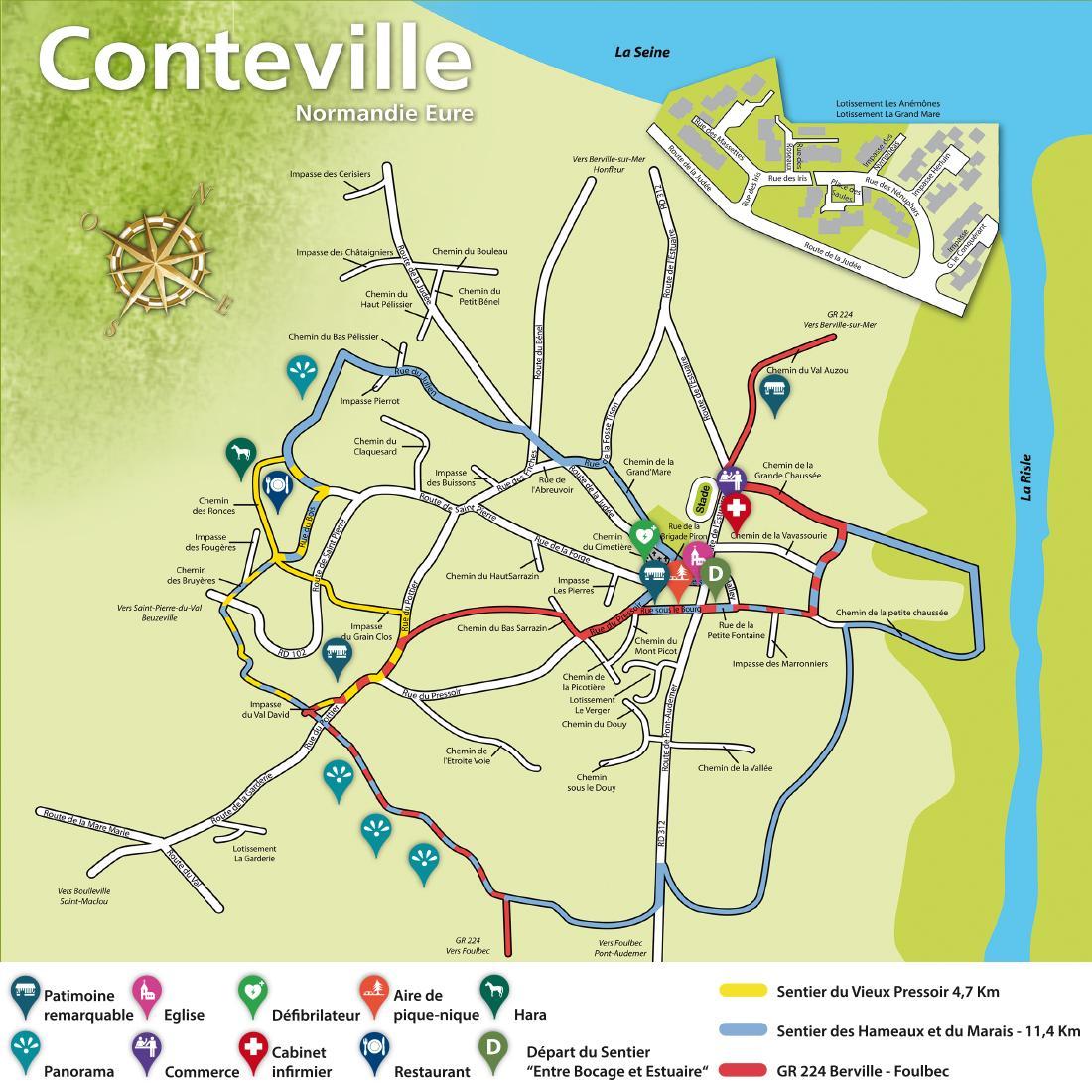 Plan de randonnées sur Conteville